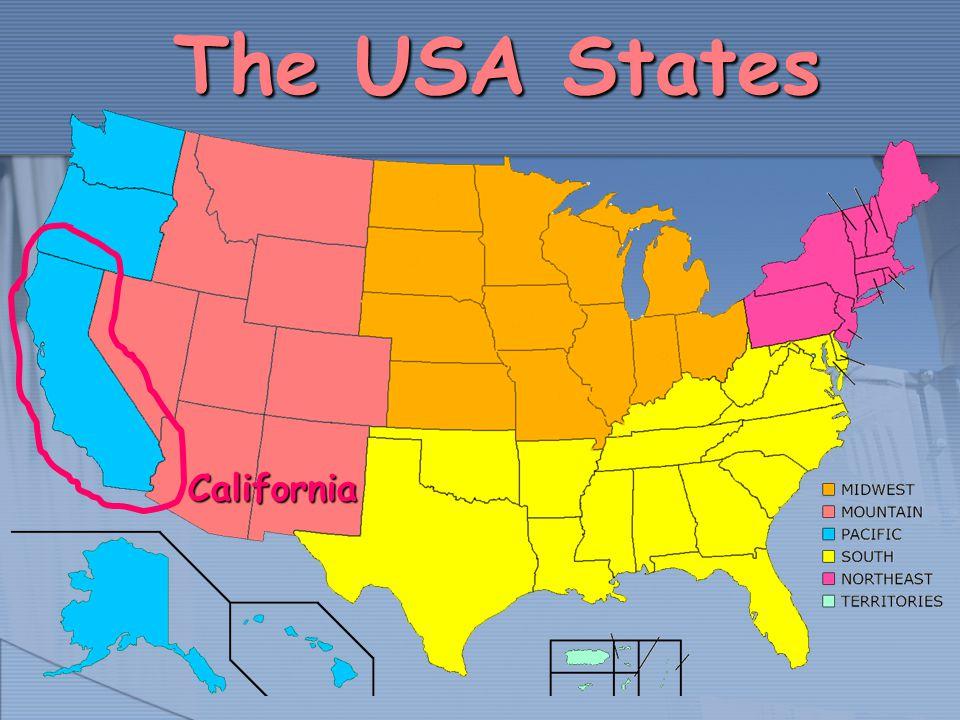 General information Capital: SacramentoCapital: Sacramento Largest city: Los AngelesLargest city: Los Angeles Area: 410 000 km²Area: 410 000 km² (3 rd place in the USA) (3 rd place in the USA) Population: 35 484 453Population: 35 484 453 (1 st place in the USA) (1 st place in the USA) Density of population: 83 /km²Density of population: 83 /km² Admittance into Union: 31 st September 9,1850Admittance into Union: 31 st September 9,1850 More habitual language by use: English, SpanishMore habitual language by use: English, Spanish Nickname: The Golden StateNickname: The Golden State Motto: Eureka!Motto: Eureka.