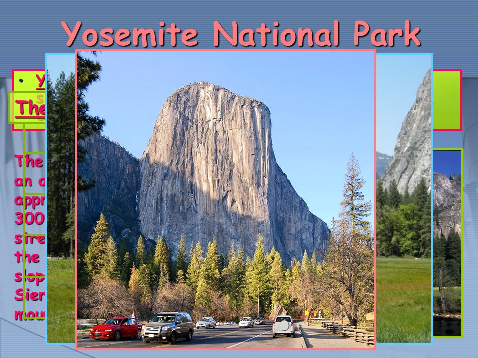 Yosemite National Park Yosemite National Park is a national park largely situated in Mariposa County, and Tuolumne County, California, USAYosemite National Park is a national park largely situated in Mariposa County, and Tuolumne County, California, USA The park covers an area of approximately 3000 km² and stretches across the western slopes of the Sierra Nevada mountain range.