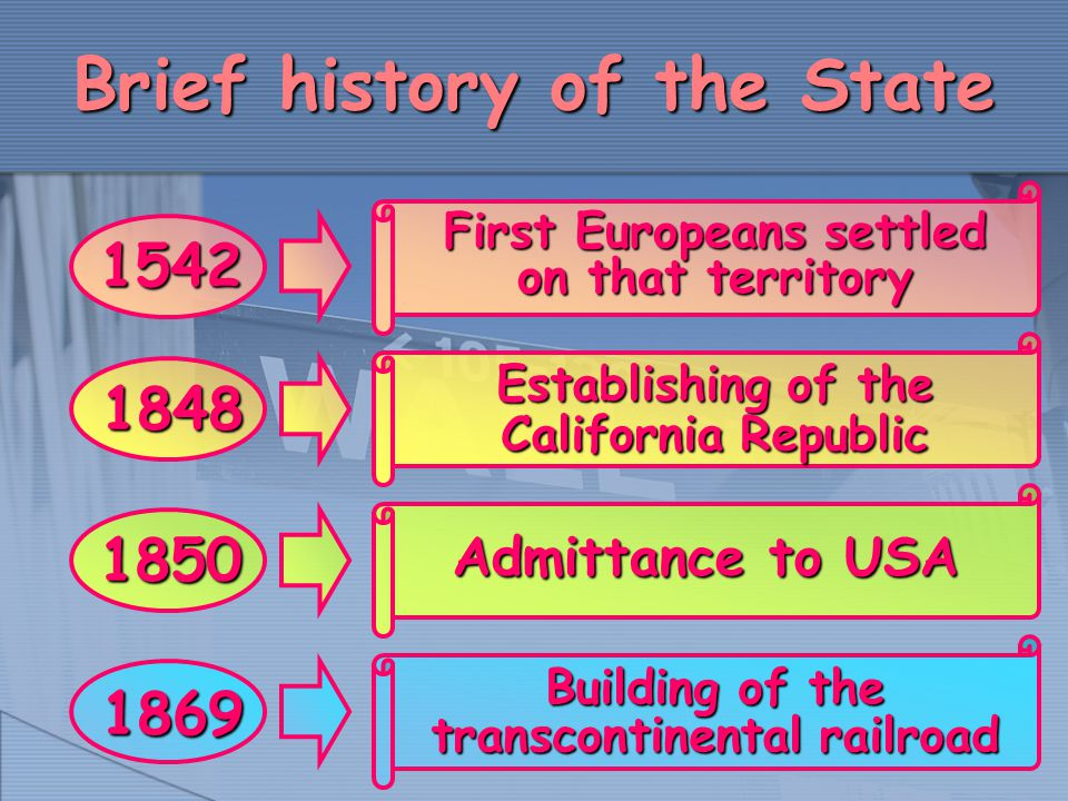Brief history of the State 1848 Establishing of the California Republic 1542 First Europeans settled on that territory Building of the transcontinenta