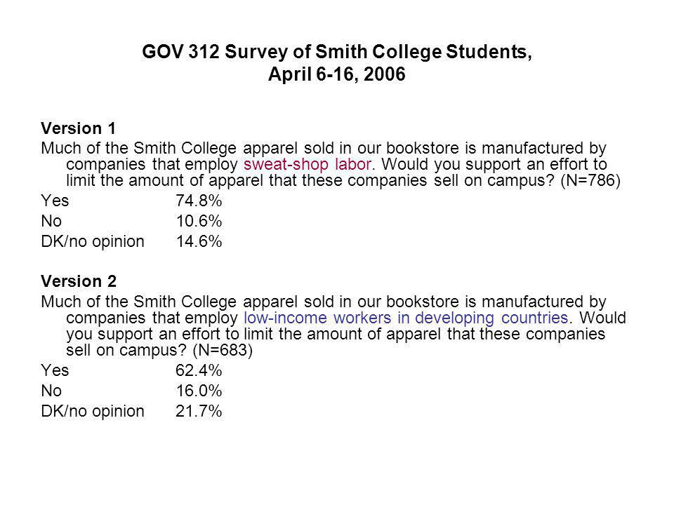 GOV 312 Survey of Smith College Students, April 6-16, 2006 Version 1 Much of the Smith College apparel sold in our bookstore is manufactured by compan