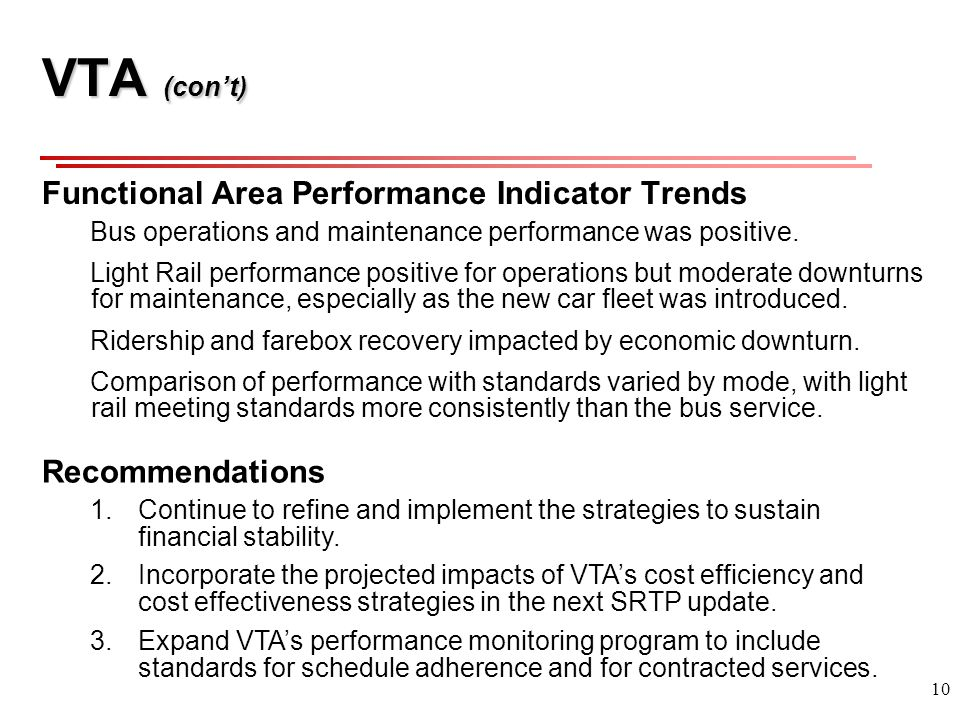 10 VTA (cont) Functional Area Performance Indicator Trends Bus operations and maintenance performance was positive.