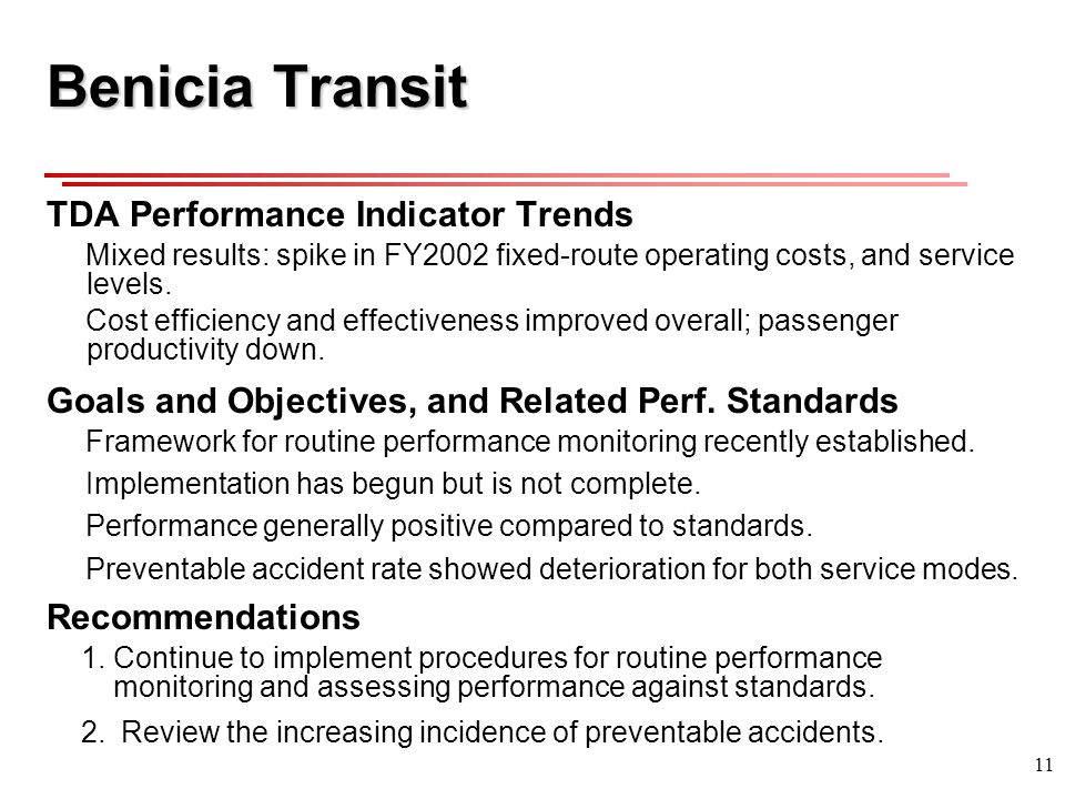 11 Benicia Transit TDA Performance Indicator Trends Mixed results: spike in FY2002 fixed-route operating costs, and service levels.