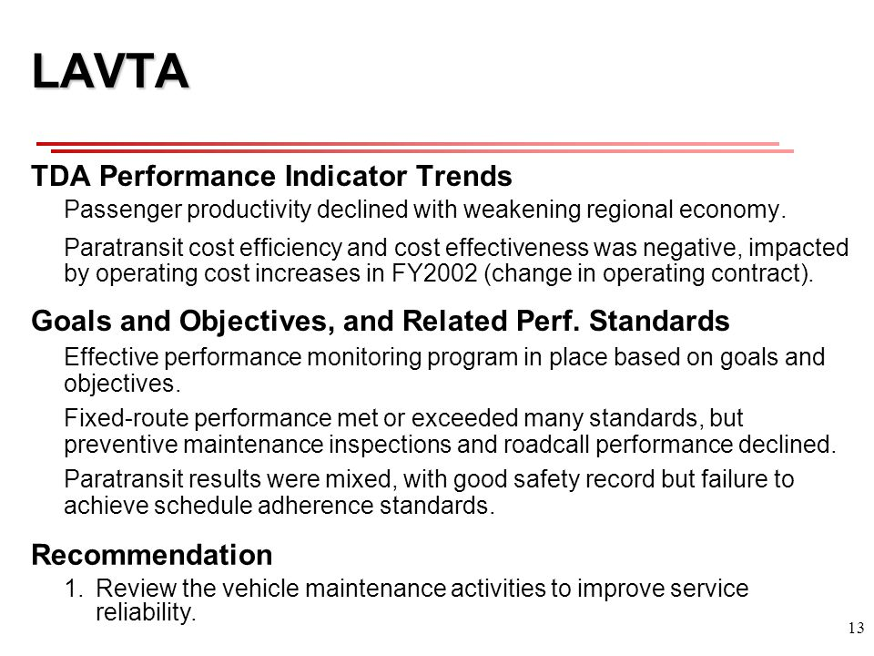 13 LAVTA TDA Performance Indicator Trends Passenger productivity declined with weakening regional economy.