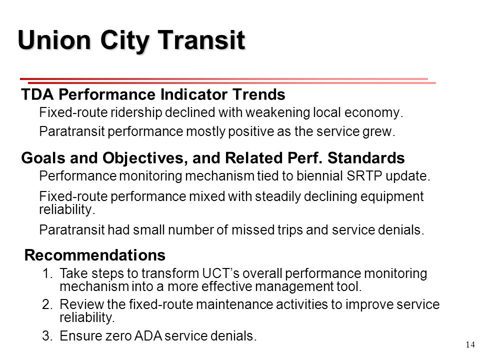 14 Union City Transit TDA Performance Indicator Trends Fixed-route ridership declined with weakening local economy.