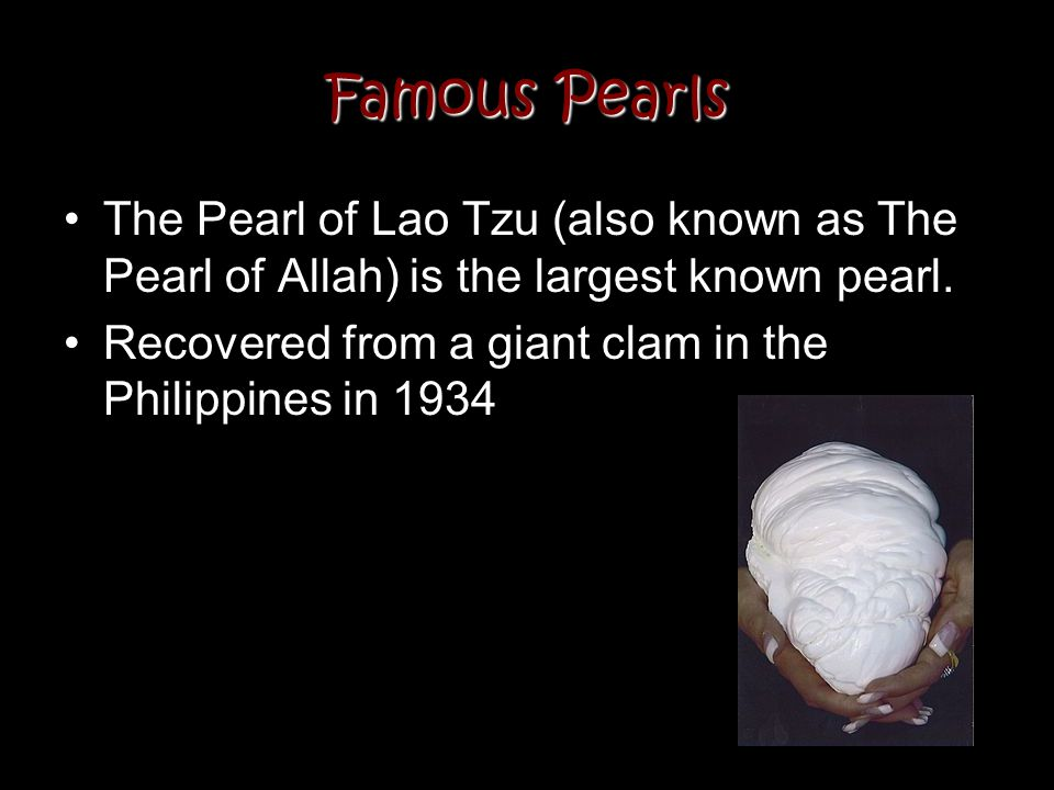 Famous Pearls The Pearl of Lao Tzu (also known as The Pearl of Allah) is the largest known pearl. Recovered from a giant clam in the Philippines in 19
