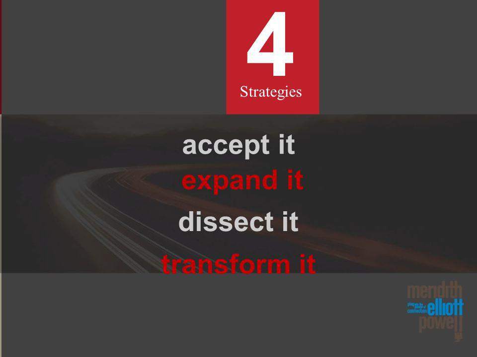 4 Strategies accept it expand it dissect it transform it