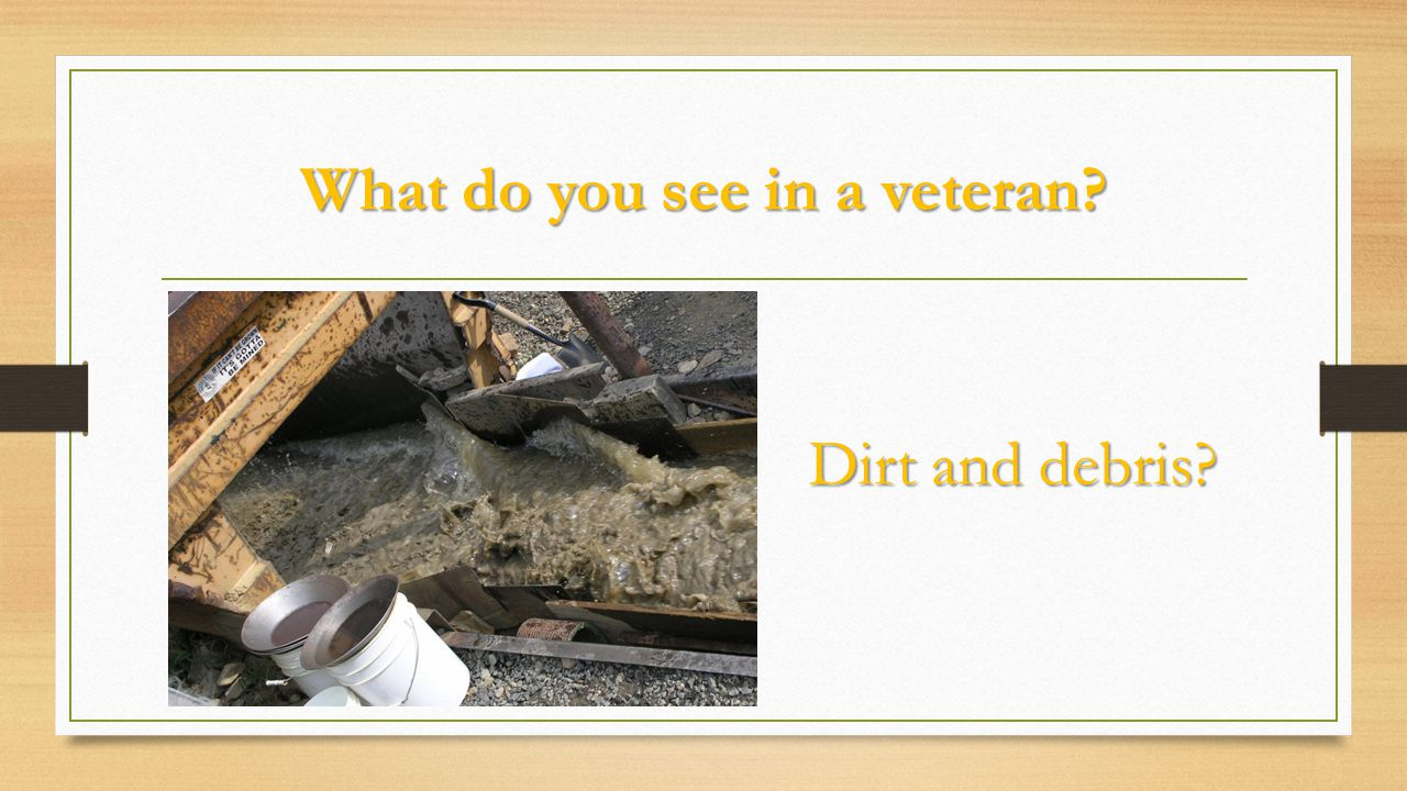 What do you see in a veteran? Dirt and debris?