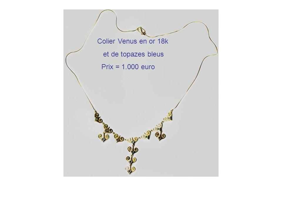 Colier Venus en or 18k et de topazes bleus Prix = 1.000 euro