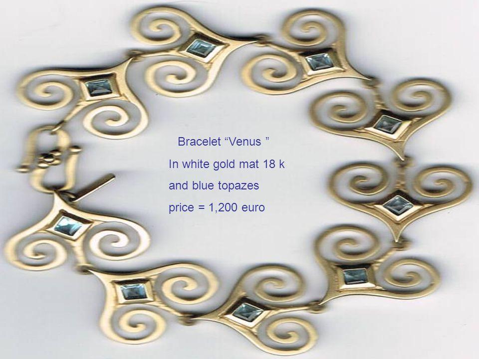 Bracelet Venus In white gold mat 18 k and blue topazes price = 1,200 euro