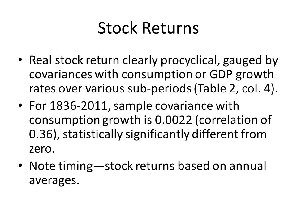 Stock Returns Real stock return clearly procyclical, gauged by covariances with consumption or GDP growth rates over various sub-periods (Table 2, col