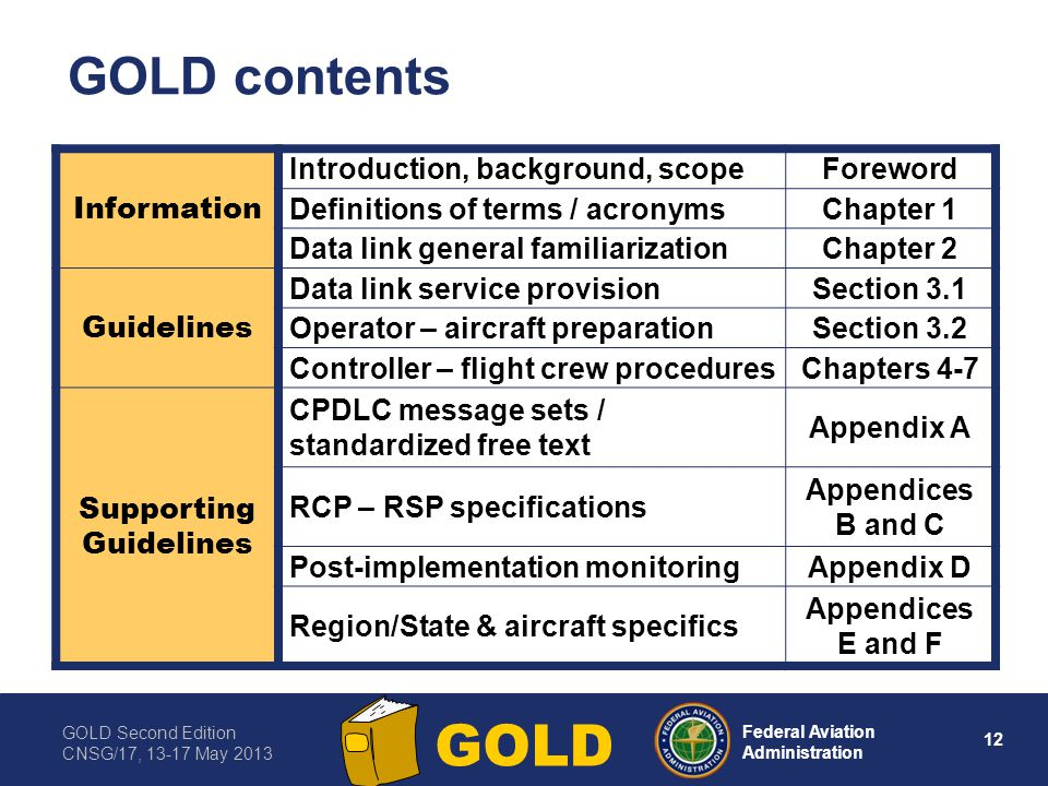 GOLD Second Edition CNSG/17, 13-17 May 2013 12 Federal Aviation Administration GOLD GOLD contents Information Introduction, background, scopeForeword