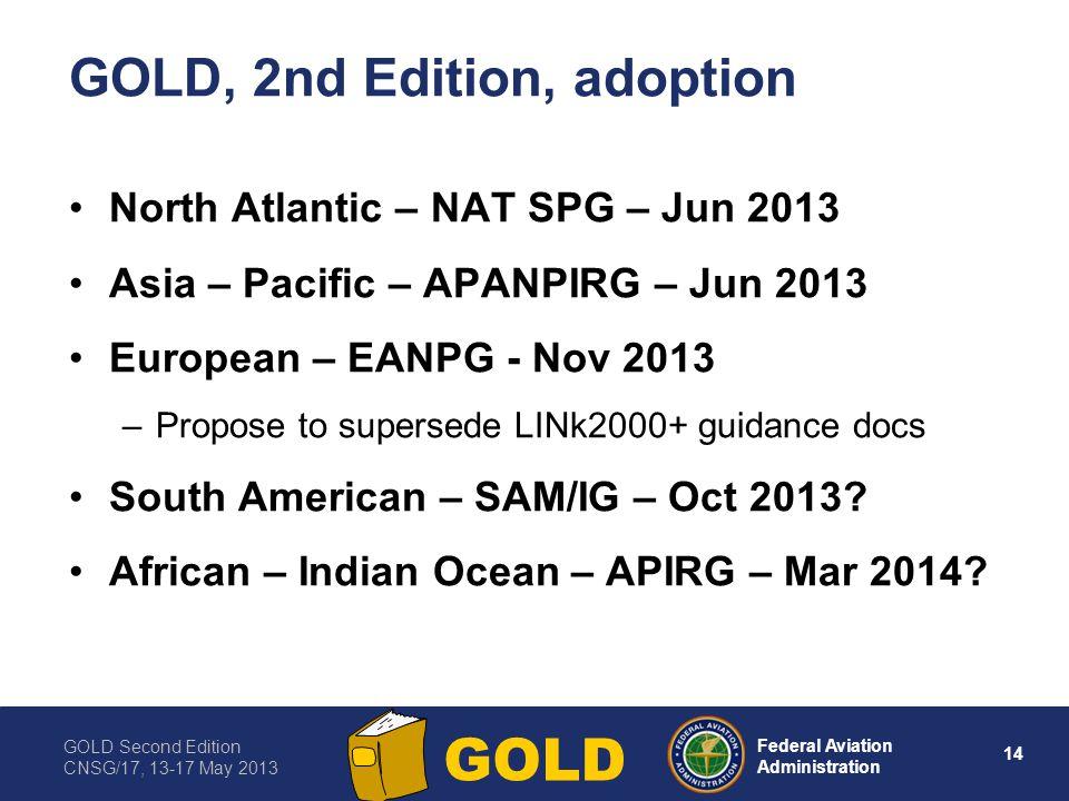 GOLD Second Edition CNSG/17, 13-17 May 2013 14 Federal Aviation Administration GOLD GOLD, 2nd Edition, adoption North Atlantic – NAT SPG – Jun 2013 As