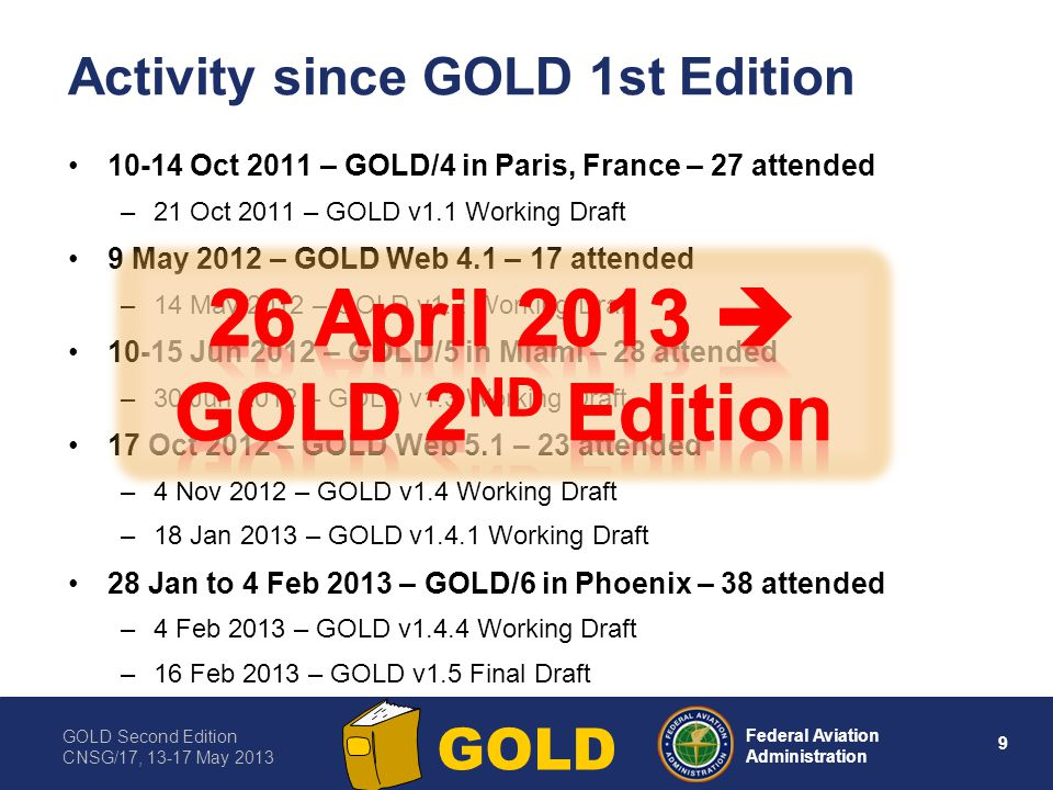 GOLD Second Edition CNSG/17, 13-17 May 2013 10 Federal Aviation Administration GOLD GOLD, 2nd Edition, trailer (1 of 2) Applies to FANS 1/A, ATN B1 and FANS 1/A­-ATN B1 aircraft and ground systems in all airspace –Where procedural separations are applied –Where ATS surveillance services are provided Generalized Chapter 2 data link description Common procedures (for most part) in Chapter 4-6 Addresses High Level Safety Conference (HLSC) recommendations (AN 13/2.5-13/16, 15 March 2013) –Data link initiation failure procedure (not CPDLC initiation) –For ADS-C conformance monitoring