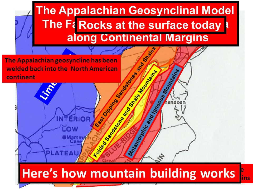 Metamorphic and Igneous Mountains East Dipping Sandstones and Shales Limestones Folded Sandstone and Shale Mountains The Appalachian Geosynclinal Model The Fate of Thick Debris in the Sea along Continental Margins Debris of the Appalachia geosyncline turned into the Appalachian Mountains Heres how mountain building works Rocks at the surface today The Appalachian geosyncline has been welded back into the North American continent