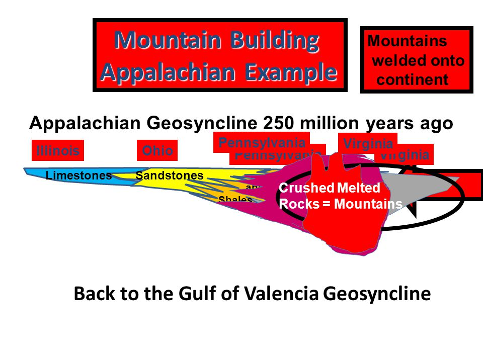 Mountain Building Mountain Building Appalachian Example Mountains welded onto continent Todays Gulf of Valencia Geosyncline LimestonesSandstones and Shales VirginiaPennsylvania OhioIllinois Appalachian Geosyncline 250 million years ago Crushed Melted Rocks = Mountains Pennsylvania Virginia Back to the Gulf of Valencia Geosyncline