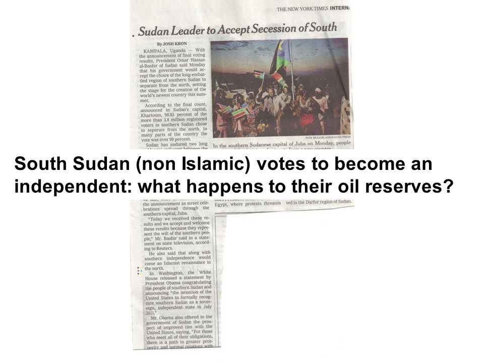 South Sudan (non Islamic) votes to become an independent: what happens to their oil reserves?