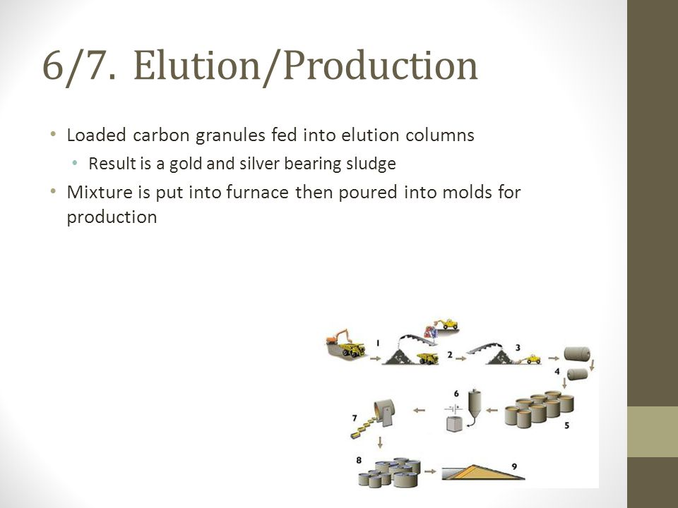 6/7. Elution/Production Loaded carbon granules fed into elution columns Result is a gold and silver bearing sludge Mixture is put into furnace then po