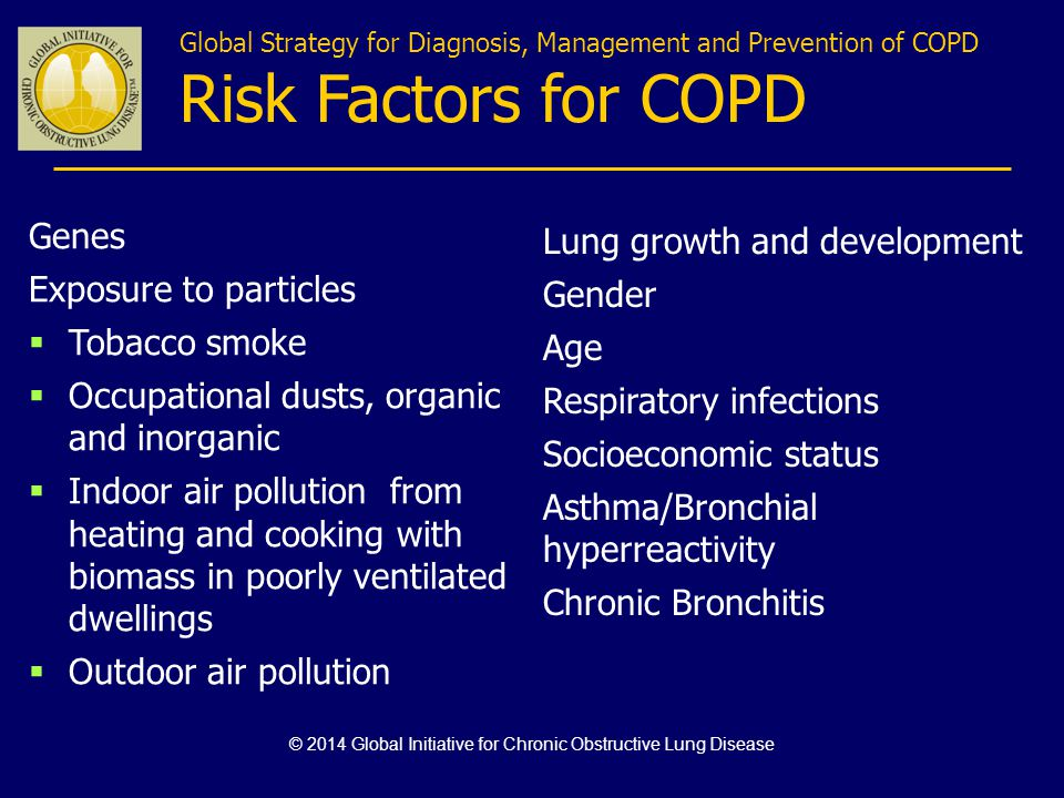 Global Strategy for Diagnosis, Management and Prevention of COPD Risk Factors for COPD Lung growth and development Gender Age Respiratory infections S