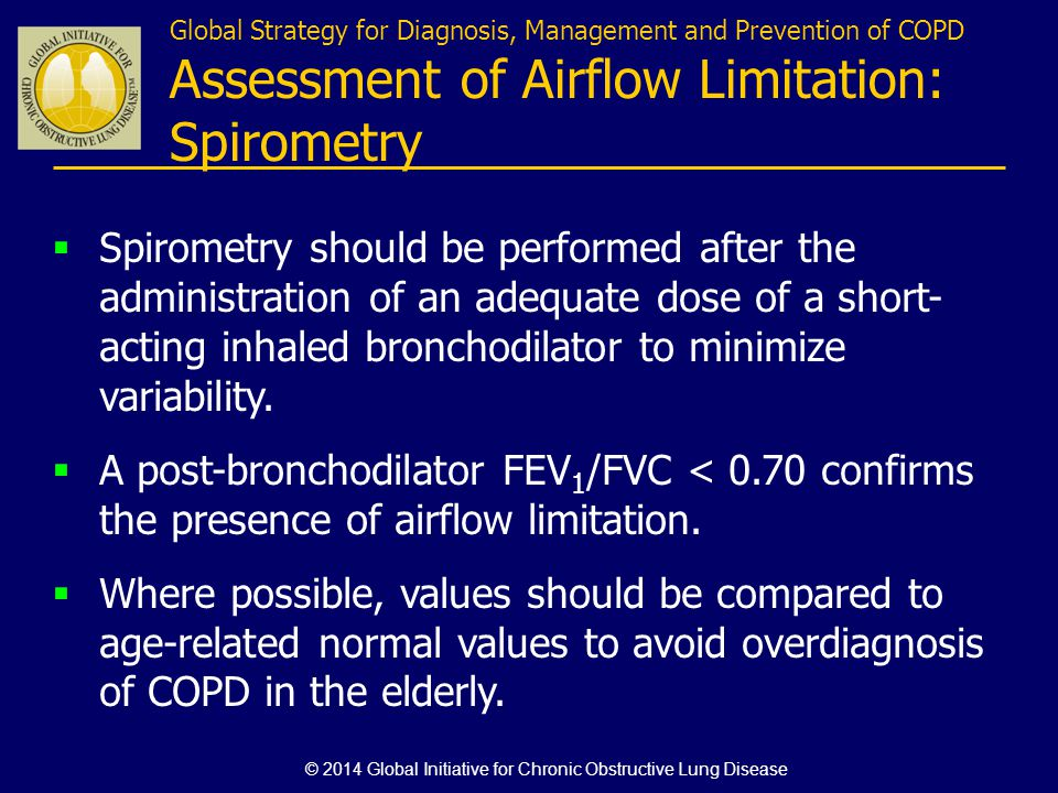 Global Strategy for Diagnosis, Management and Prevention of COPD Assessment of Airflow Limitation: Spirometry Spirometry should be performed after the