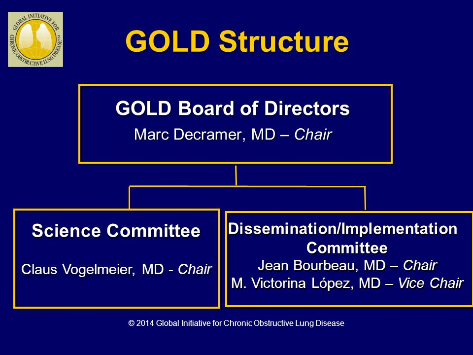 Global Strategy for Diagnosis, Management and Prevention of COPD Classification of Severity of Airflow Limitation in COPD* In patients with FEV 1 /FVC < 0.70: GOLD 1: Mild FEV 1 > 80% predicted GOLD 2: Moderate 50% < FEV 1 < 80% predicted GOLD 3: Severe 30% < FEV 1 < 50% predicted GOLD 4: Very Severe FEV 1 < 30% predicted *Based on Post-Bronchodilator FEV 1 © 2014 Global Initiative for Chronic Obstructive Lung Disease
