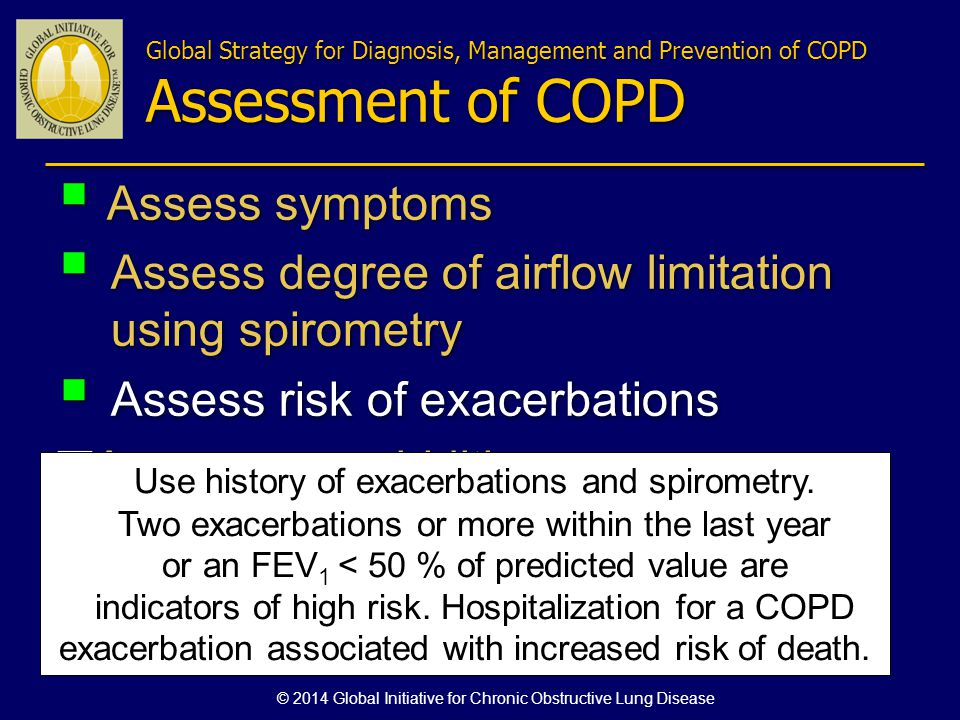Assess symptoms Assess degree of airflow limitation using spirometry Assess risk of exacerbations Assess comorbidities Assess symptoms Assess degree o