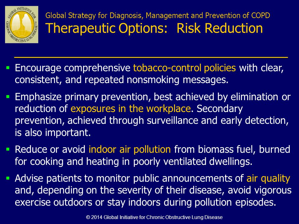 Global Strategy for Diagnosis, Management and Prevention of COPD Therapeutic Options: Risk Reduction Encourage comprehensive tobacco-control policies