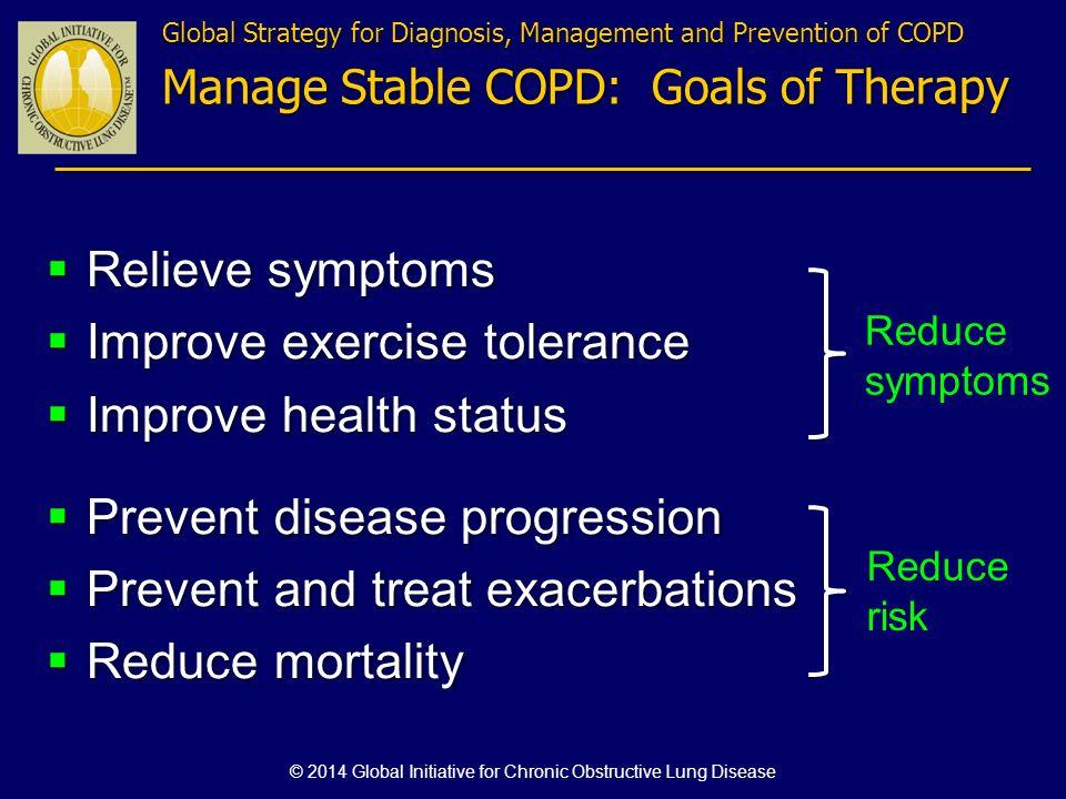 Relieve symptoms Improve exercise tolerance Improve health status Prevent disease progression Prevent and treat exacerbations Reduce mortality Relieve