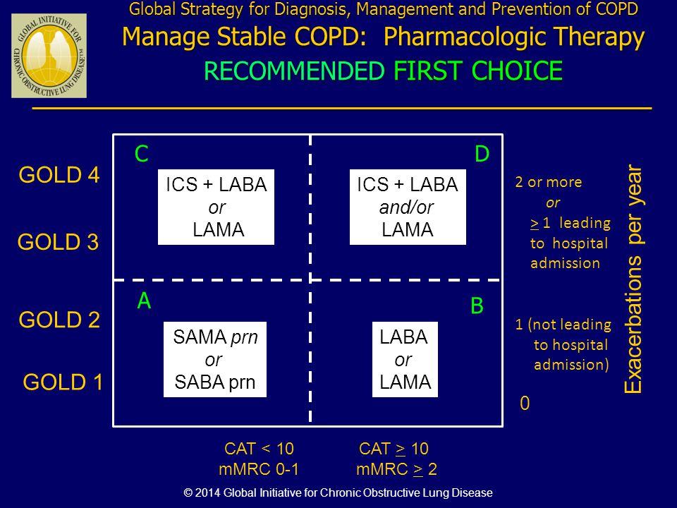 Exacerbations per year 0 CAT < 10 mMRC 0-1 GOLD 4 CAT > 10 mMRC > 2 GOLD 3 GOLD 2 GOLD 1 SAMA prn or SABA prn LABA or LAMA ICS + LABA or LAMA Global S