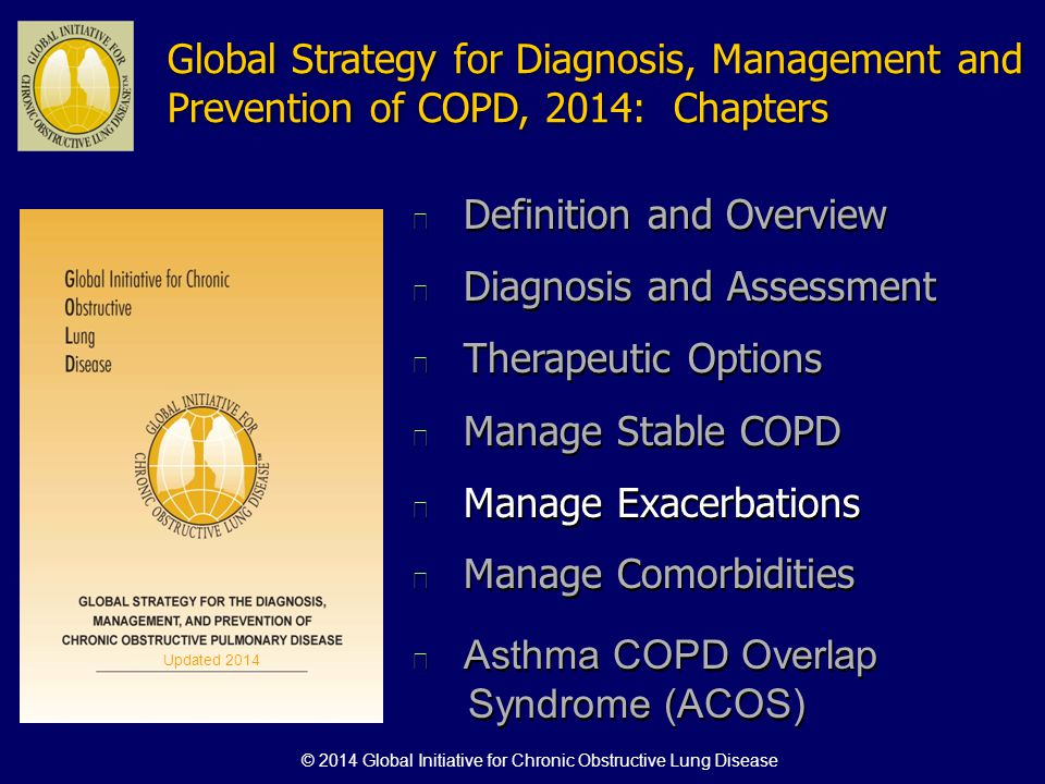 Global Strategy for Diagnosis, Management and Prevention of COPD, 2014: Chapters n Definition and Overview n Diagnosis and Assessment n Therapeutic Op
