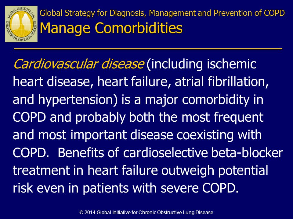 Cardiovascular disease (including ischemic heart disease, heart failure, atrial fibrillation, and hypertension) is a major comorbidity in COPD and pro