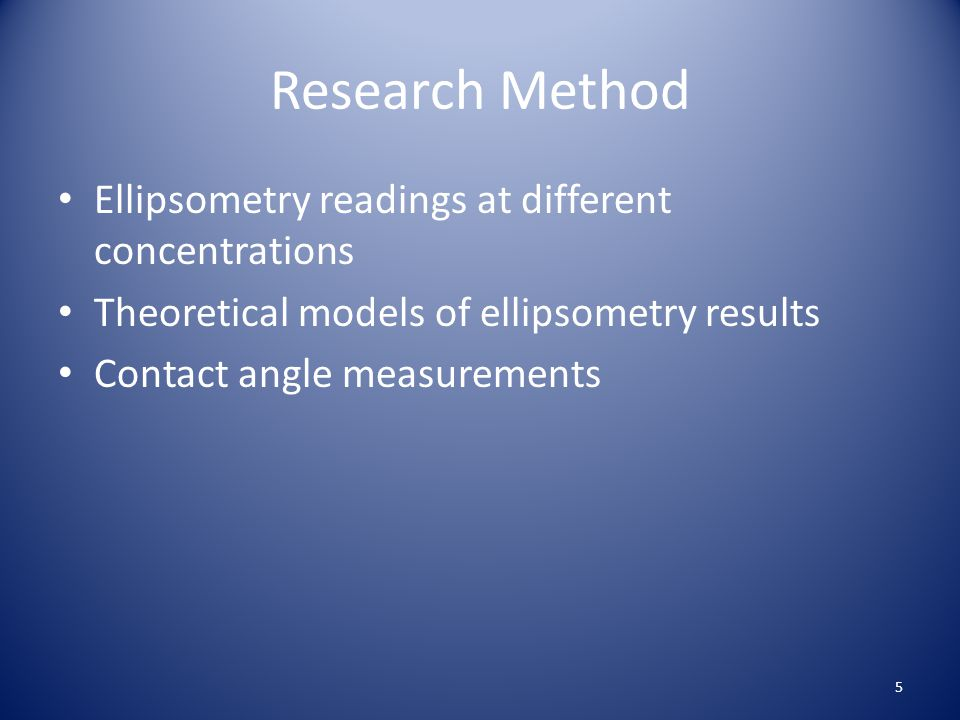 Research Method Ellipsometry readings at different concentrations Theoretical models of ellipsometry results Contact angle measurements 5