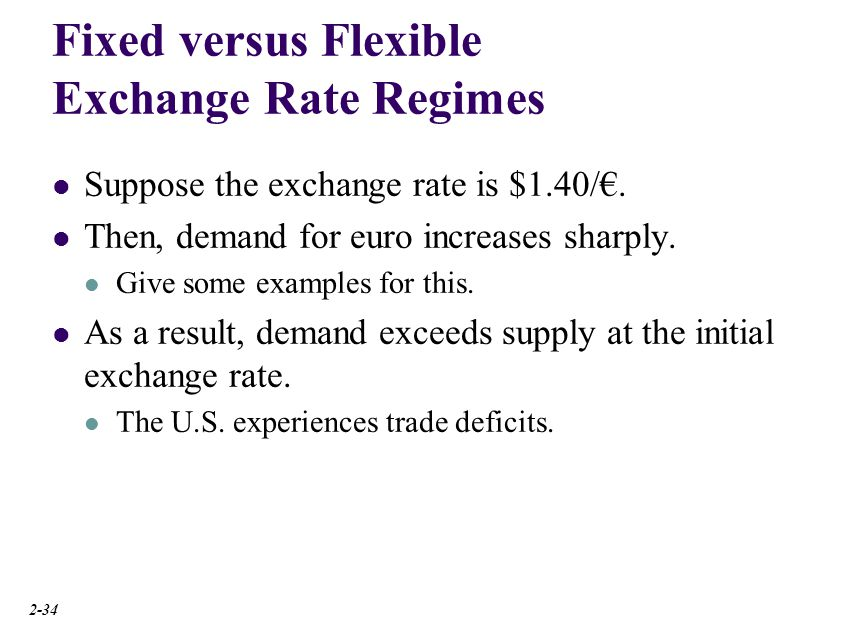 Fixed versus Flexible Exchange Rate Regimes Suppose the exchange rate is $1.40/. Then, demand for euro increases sharply. Give some examples for this.