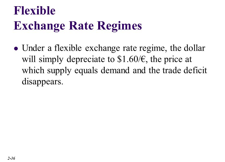 Flexible Exchange Rate Regimes Under a flexible exchange rate regime, the dollar will simply depreciate to $1.60/, the price at which supply equals de