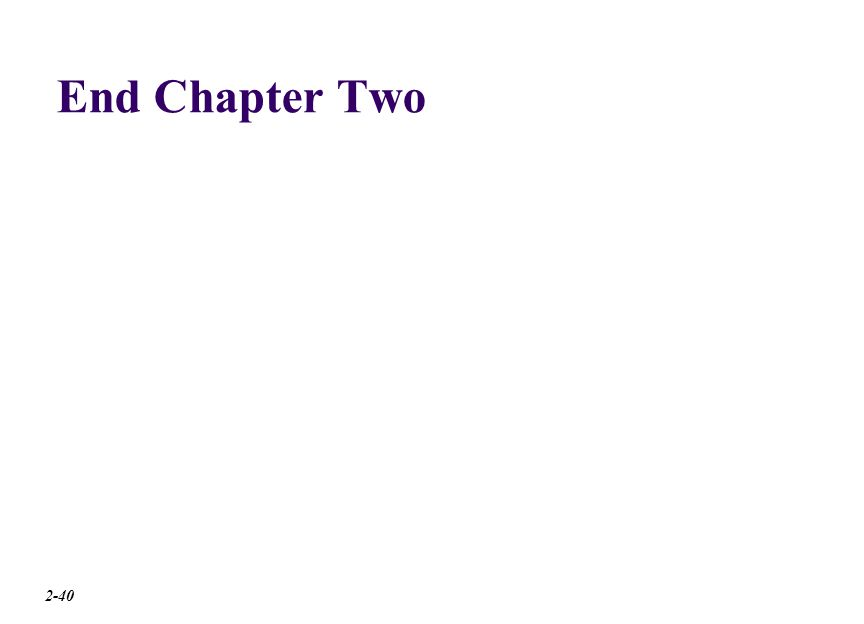 End Chapter Two 2-40
