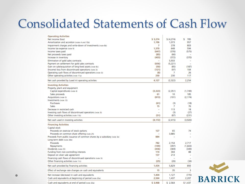 Consolidated Statements of Cash Flow