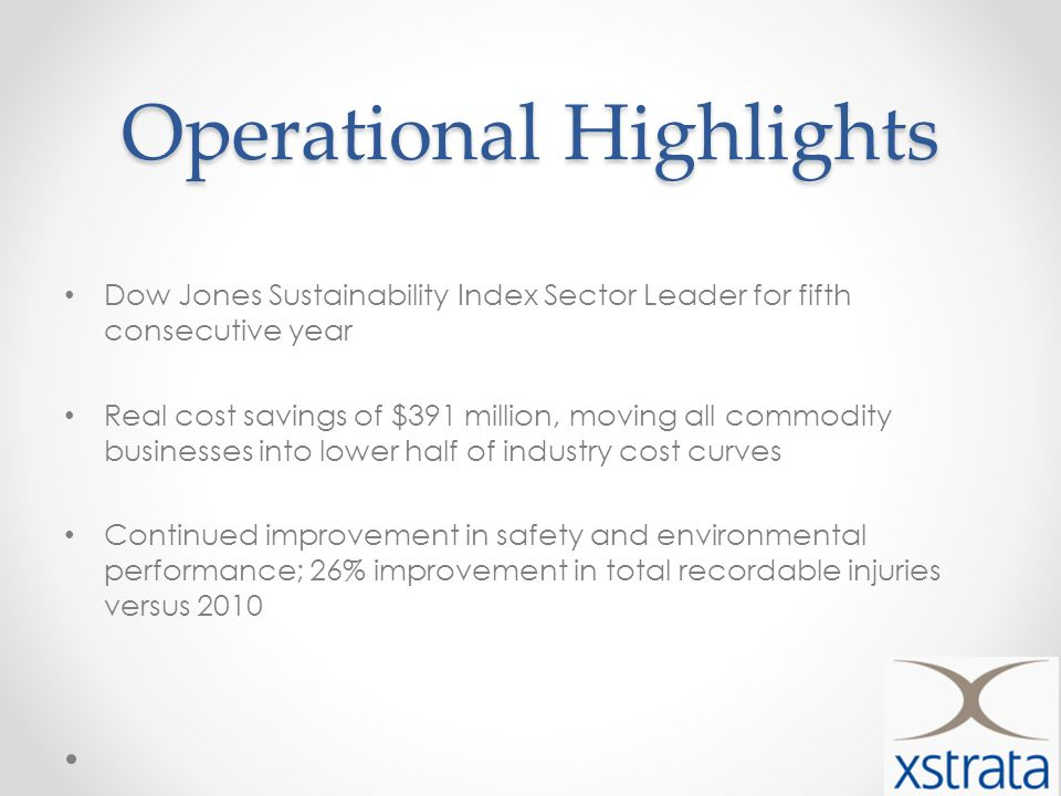 Operational Highlights Dow Jones Sustainability Index Sector Leader for fifth consecutive year Real cost savings of $391 million, moving all commodity businesses into lower half of industry cost curves Continued improvement in safety and environmental performance; 26% improvement in total recordable injuries versus 2010