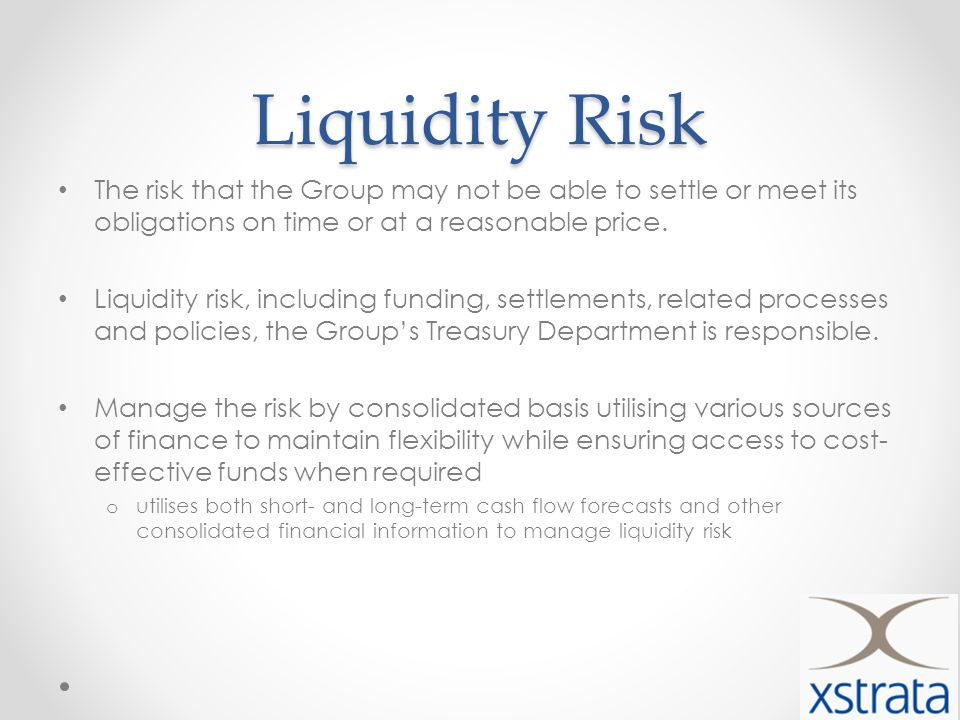 Liquidity Risk The risk that the Group may not be able to settle or meet its obligations on time or at a reasonable price.