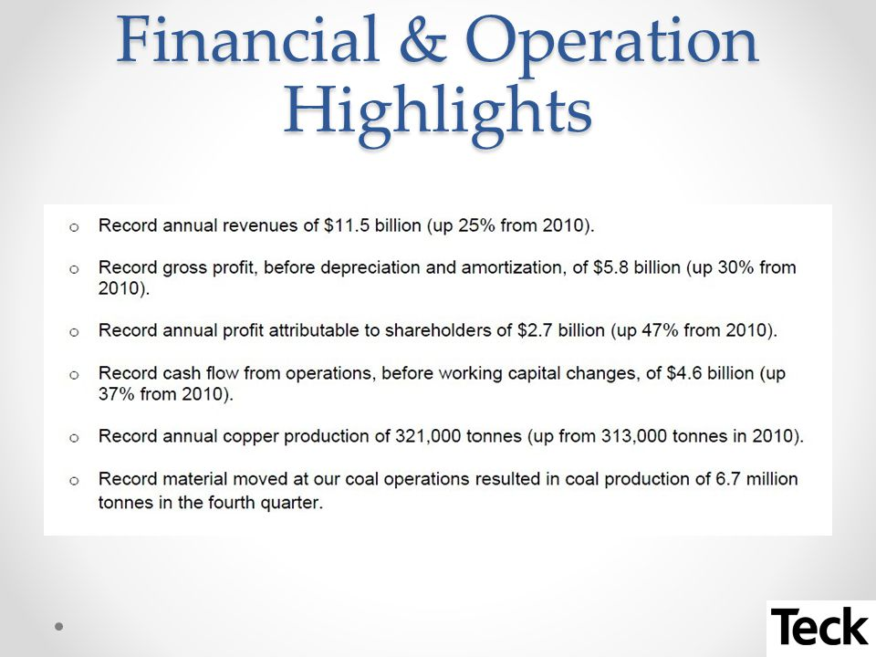 Financial & Operation Highlights