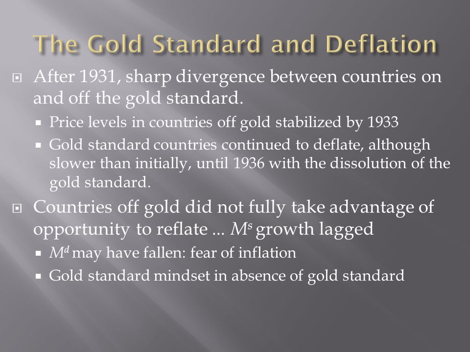 After 1931, sharp divergence between countries on and off the gold standard.