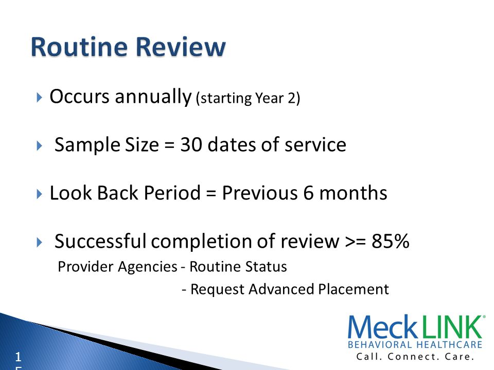 1515 Occurs annually (starting Year 2) Sample Size = 30 dates of service Look Back Period = Previous 6 months Successful completion of review >= 85% P