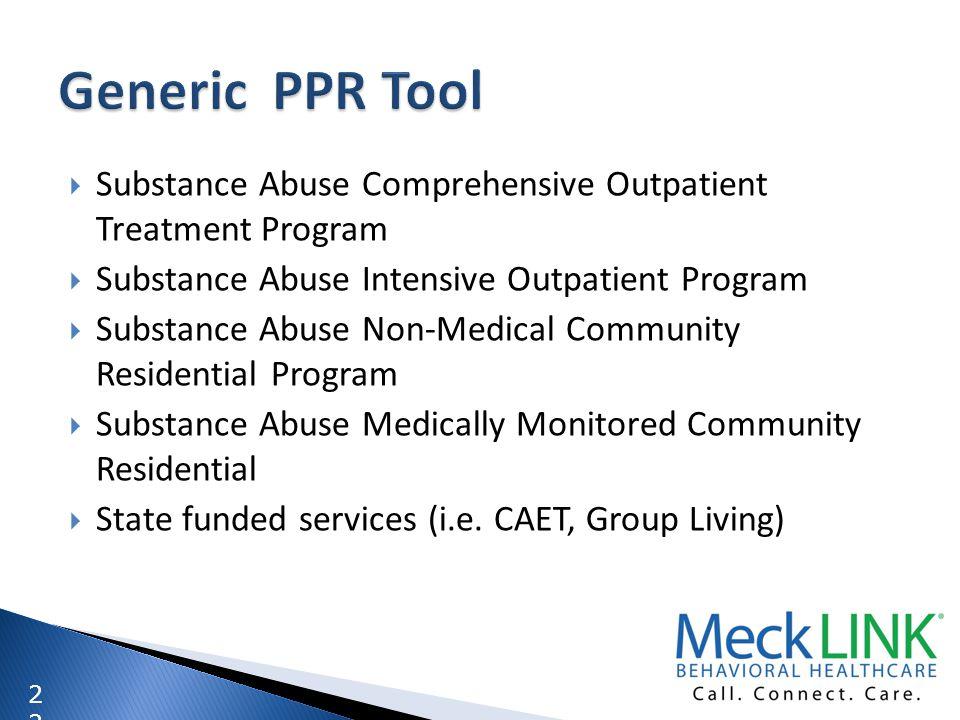 2 Substance Abuse Comprehensive Outpatient Treatment Program Substance Abuse Intensive Outpatient Program Substance Abuse Non-Medical Community Reside