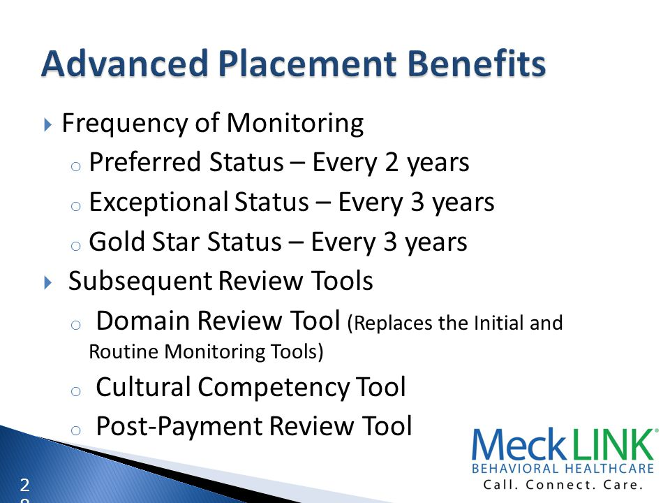 2828 Frequency of Monitoring o Preferred Status – Every 2 years o Exceptional Status – Every 3 years o Gold Star Status – Every 3 years Subsequent Rev