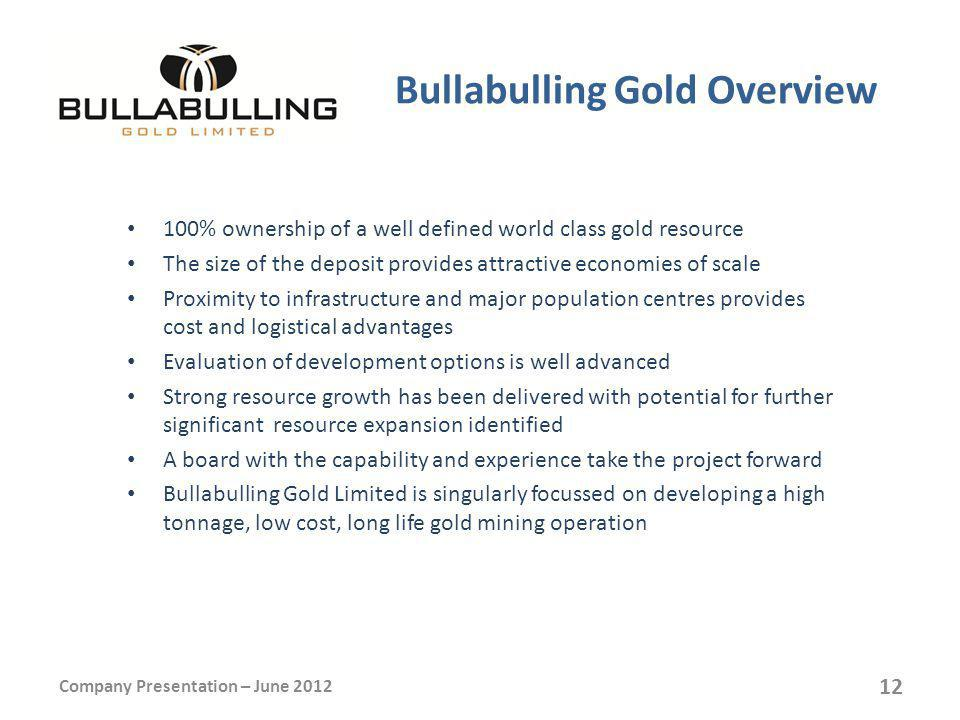 Bullabulling Gold Overview 100% ownership of a well defined world class gold resource The size of the deposit provides attractive economies of scale Proximity to infrastructure and major population centres provides cost and logistical advantages Evaluation of development options is well advanced Strong resource growth has been delivered with potential for further significant resource expansion identified A board with the capability and experience take the project forward Bullabulling Gold Limited is singularly focussed on developing a high tonnage, low cost, long life gold mining operation Company Presentation – June 2012 12
