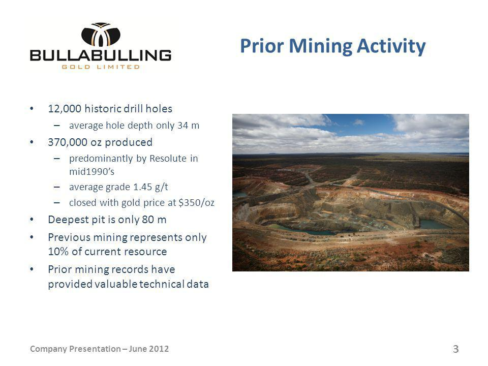 Prior Mining Activity 12,000 historic drill holes – average hole depth only 34 m 370,000 oz produced – predominantly by Resolute in mid1990s – average grade 1.45 g/t – closed with gold price at $350/oz Deepest pit is only 80 m Previous mining represents only 10% of current resource Prior mining records have provided valuable technical data Company Presentation – June 2012 3