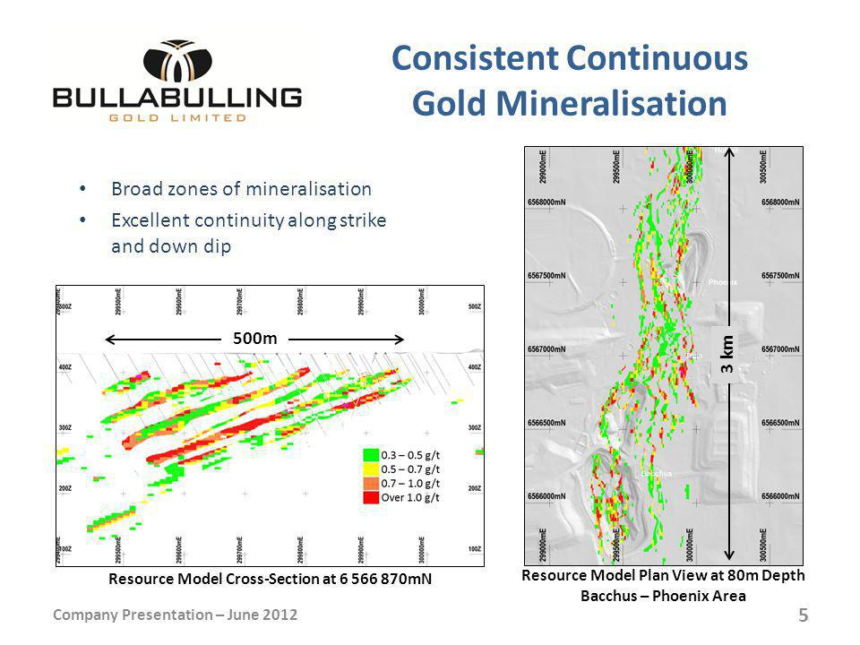 Consistent Continuous Gold Mineralisation Broad zones of mineralisation Excellent continuity along strike and down dip Company Presentation – June 2012 Resource Model Cross-Section at 6 566 870mN 500m Resource Model Plan View at 80m Depth Bacchus – Phoenix Area 3 km 5