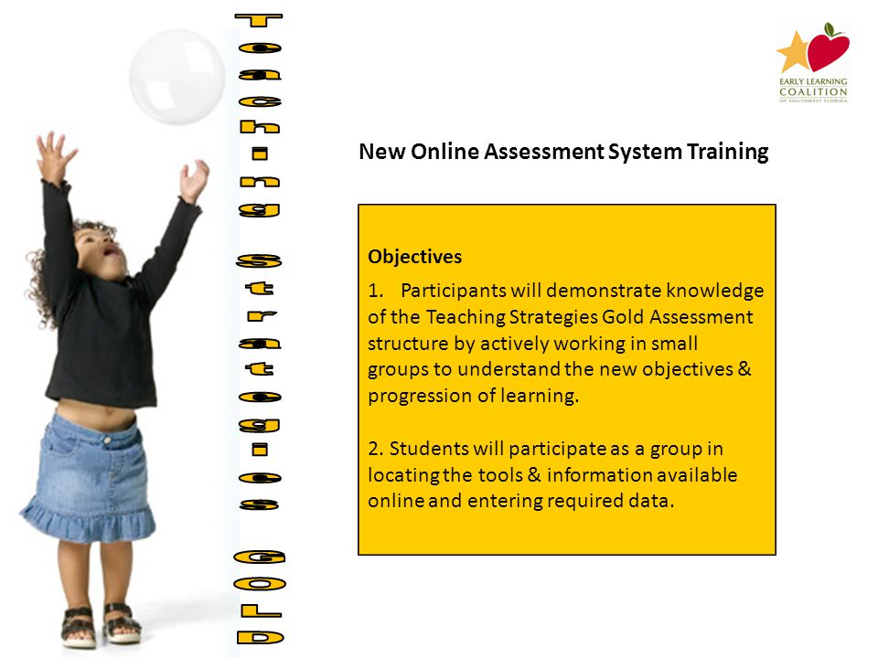 New Online Assessment System Training Objectives 1.Participants will demonstrate knowledge of the Teaching Strategies Gold Assessment structure by actively working in small groups to understand the new objectives & progression of learning.