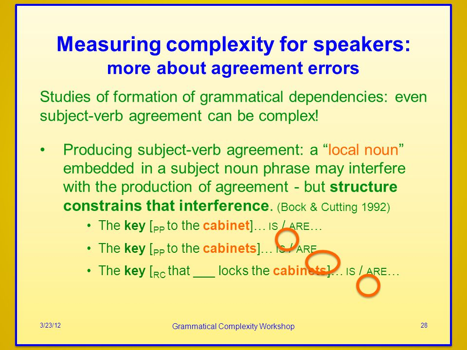 Measuring complexity for speakers: more about agreement errors Studies of formation of grammatical dependencies: even subject-verb agreement can be complex.