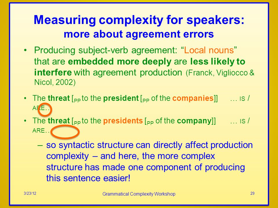 Measuring complexity for speakers: more about agreement errors Producing subject-verb agreement: Local nouns that are embedded more deeply are less li