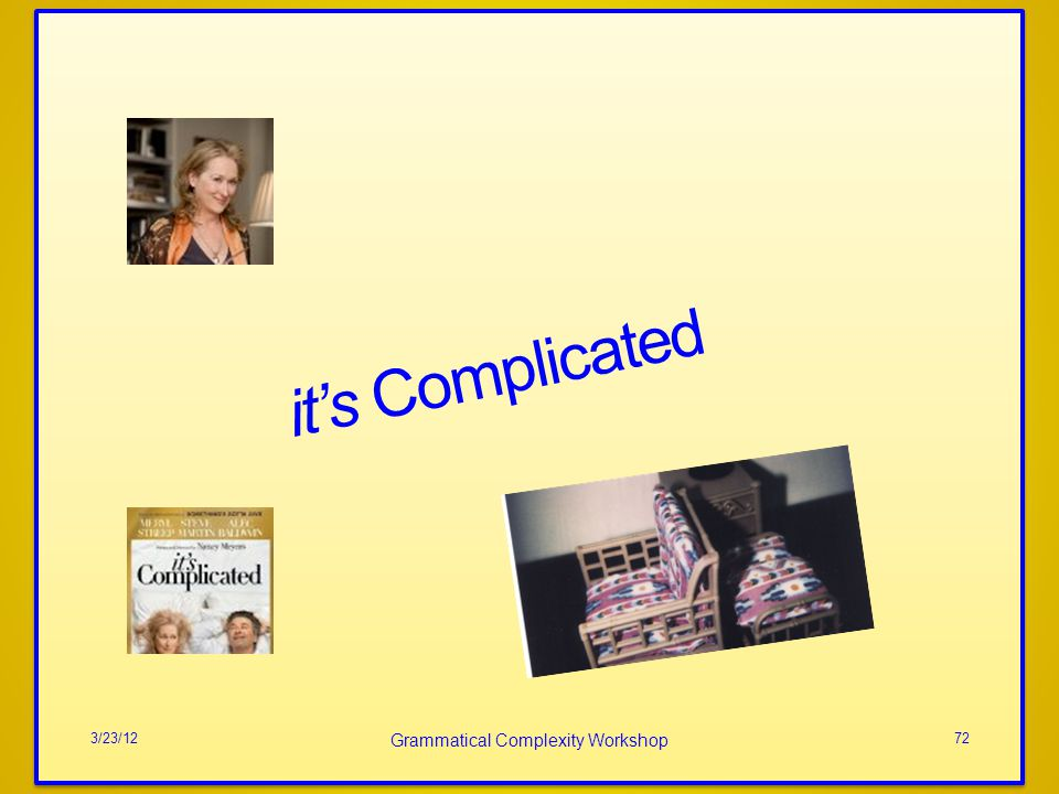 its Complicated 3/23/12 Grammatical Complexity Workshop 72