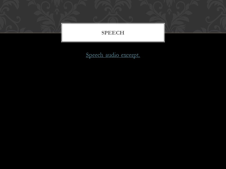 Speech audio excerpt. SPEECH